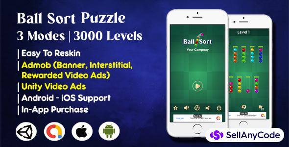 Ball Sort Puzzle Source Code (Admob+Unity Ads+3000 Levels)