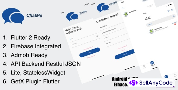 ChatMe Simply Messaging Flutter Apps (API JSON Backend)