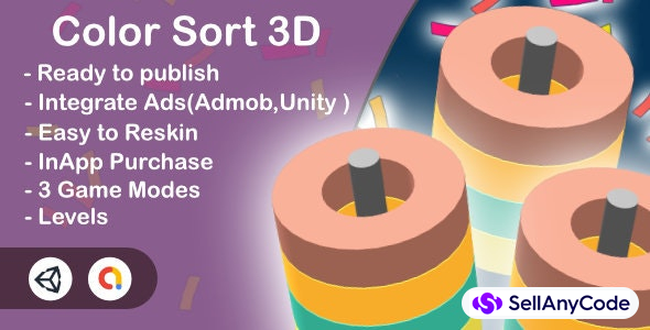 Color Sort 3D (Unity Complete+Admob+Android+iOS)
