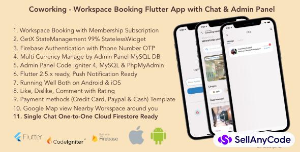 Coworking - Workspace Flutter App, Chat & Admin Panel