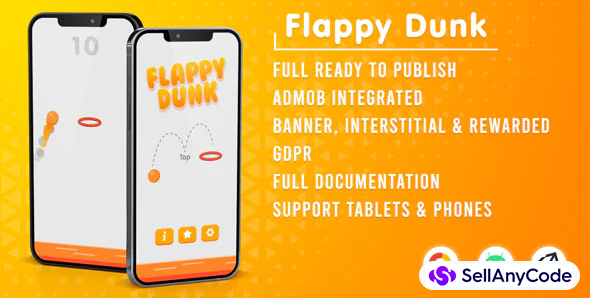 Flappy Dunk Unity Game With Admob Ads