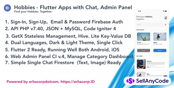Hobbies - Social Flutter Apps With Chat - Web Admin Panel