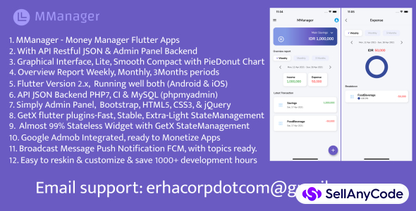 MManager, Money Manager Flutter Apps, with API & Admin Panel Backend