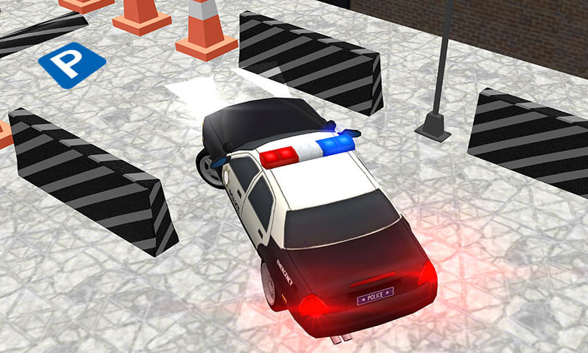 Police car parking game real driving
