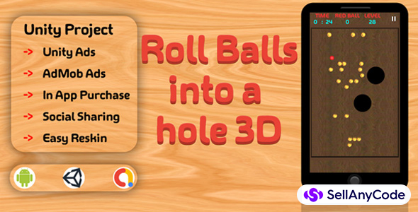 Roll Balls into a hole 3D