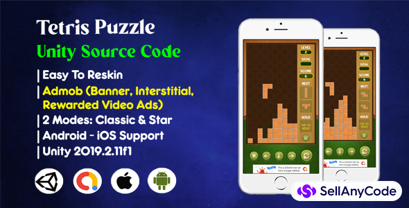 Tetris Puzzle Source Code (Admob + IAP)