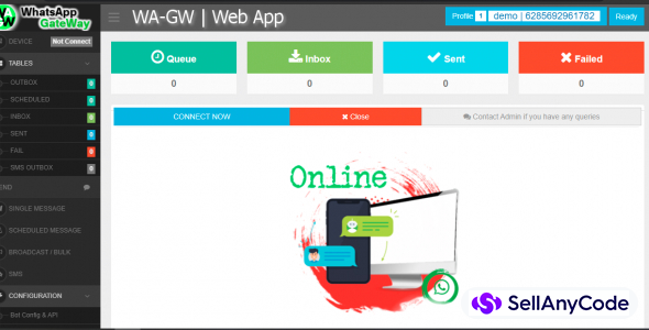 WA-GW | WhatsApp and SMS GateWay (Bulk and Chatbot) with SAAS Support
