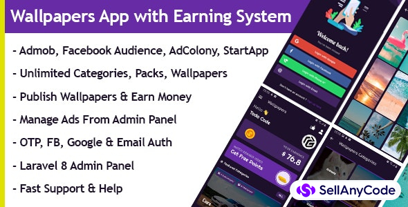 Wallpapers App with Earning system + Admin Panel