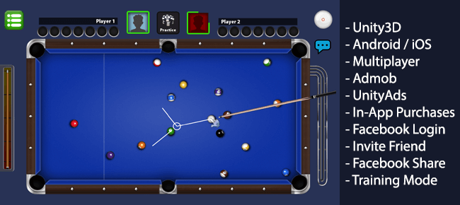 Billiards Multiplayer 8 Ball Pool Unity - Sell My App