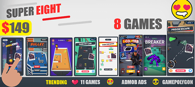 GamePolygon Latest Release Bundle: 8 Super Game Templates -86% OFF NOW! - Sell My App
